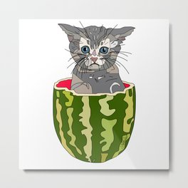 Kitty Cat Watermelon Metal Print