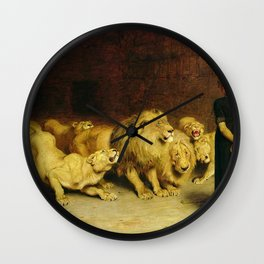 Daniel In The Lions Den 1872 By Briton Riviere Wall Clock