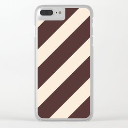Antique White and Coffee Brown Diagonal Stripes Clear iPhone Case