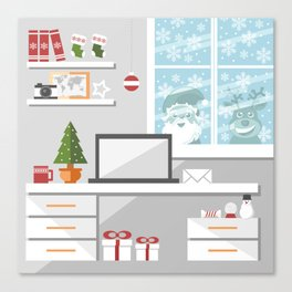 Christmastime office interior Canvas Print