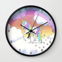 Pretty Rainbow Unicorn and Stars Wall Clock