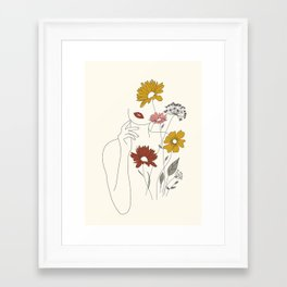 Colorful Thoughts Minimal Line Art Woman with Flowers III Framed Art Print