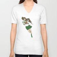 sailor jupiter V-neck T-shirts featuring Sailor Jupiter by Neal Julian