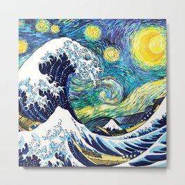 Starry Wave Night Metal Print