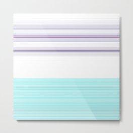 Romantic Pastel Teal white Purple Stripes Metal Print