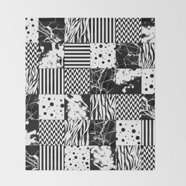 Eclectic Black and White Squares Throw Blanket
