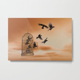 Freedom - Spread Your Wings and Fly Away - Crows and Bird Cage Artwork Metal Print