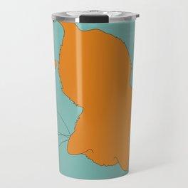 Ginger Kitty Cat Illustrated Print Orange Sea Green Travel Mug
