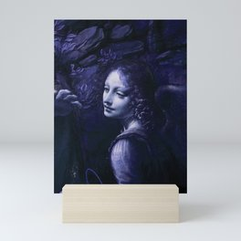 "Leonardo da Vinci Angel in ""The Virgin of the Rocks (London)"" (blue) Mini Art Print"