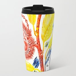 Branch of a chestnut tree in autumn Travel Mug