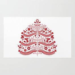 Red Scandinavian Folk Art Christmas Tree Rug