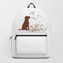 Brown Dog in Fall Leaves Backpack