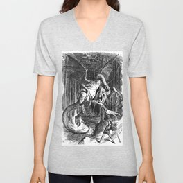Jabberwocky Illustration from Alice in Wonderland Unisex V-Neck