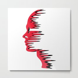 Red Melt Face Metal Print