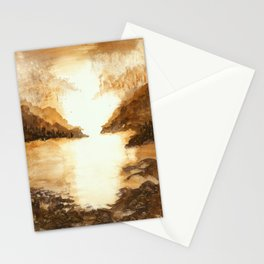 Golden Morn, Watercolor Beach Art Stationery Cards