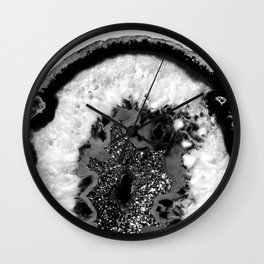 Gray Black White Agate Glitter Glamor #1 #gem #decor #art #society6 Wall Clock