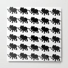 Elephant Walk B&W Metal Print