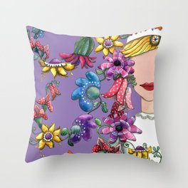 I Love the Flower Girl Lavender Throw Pillow