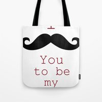 moustache Tote Bags featuring Moustache by Natalie Reed