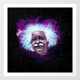 Albert Einstein Nebula Art Print