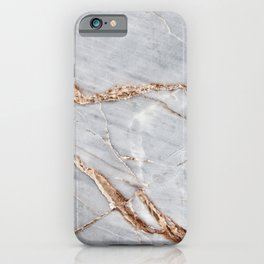 Light Gray Marble With Gold iPhone Case