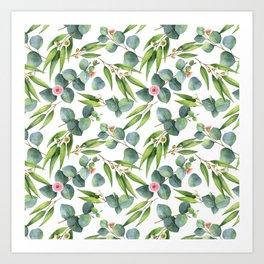Bamboo and eucaliptus pattern Art Print