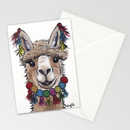 Alpaca with Tassels, colorful Alpaca Art Stationery Cards