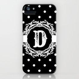Black Monogram: Letter D iPhone Case