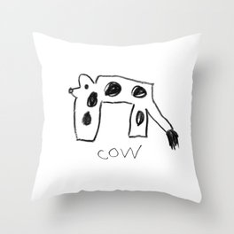 My Cow Drawing Throw Pillow