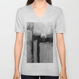 Gray black abstract Unisex V-Neck