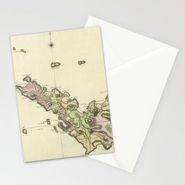 Map Of Saint Barts 1801 Stationery Cards