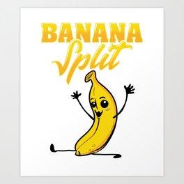 Cute & Funny Banana Split Gymnastics Art Print