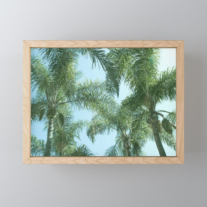 Nature photography tropical vibe vintage palm leaf I Framed Mini Art Print