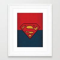 dc comics Framed Art Prints featuring Super Man Logo Minimalist Art Print DC Comics by The Retro Inc