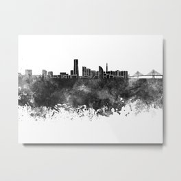Yokohama skyline in black watercolor on white background Metal Print