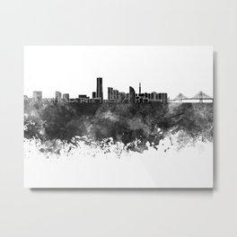 Yokohama skyline in black watercolor on white background Metal Print