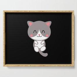 Cute Smiling Cat Kids Shirt Design Serving Tray
