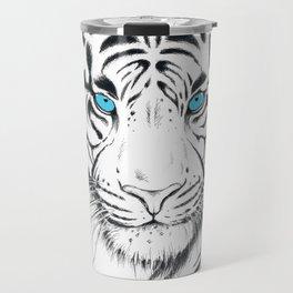 White Bengal tiger Blue Eyes Ink Art Travel Mug