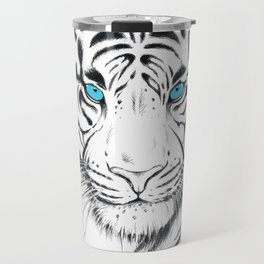 White Bengal tiger Blue Eyes Ink Art Travel Mug