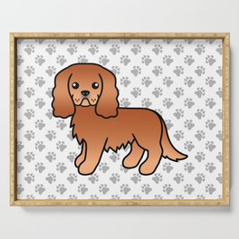 Cute Ruby Cavalier King Charles Spaniel Dog Cartoon Illustration Serving Tray