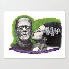 Watercolor Painting of Frankenstein & Bride Canvas Print