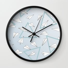 Paper Planes - Blue Wall Clock