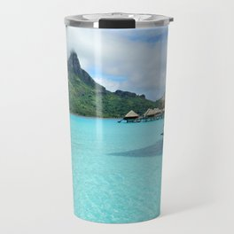 Luxury over-water resort with view on Bora Bora island Travel Mug