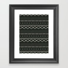 Mudcloth in bone on black Framed Art Print