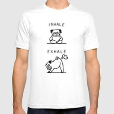 Inhale Exhale Pug MEDIUM White Mens Fitted Tee