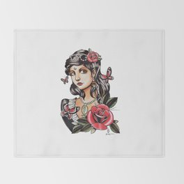 Girl with Butterflies - tattoo Throw Blanket