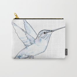 Hummingbird Watercolor, Flapping Wings, Muted Tones Carry-All Pouch