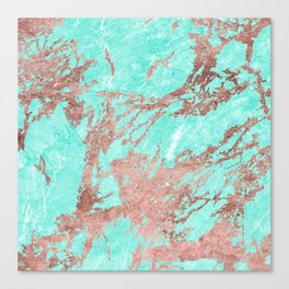 Modern rose gold turquoise white stylish marble Canvas Print