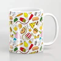 junk food Mugs featuring Junk food doodle by Waffleme & Co.