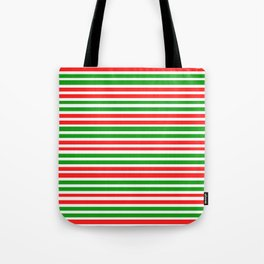 Christmas-Style Red, White, and Green Colored Lined Pattern Tote Bag
